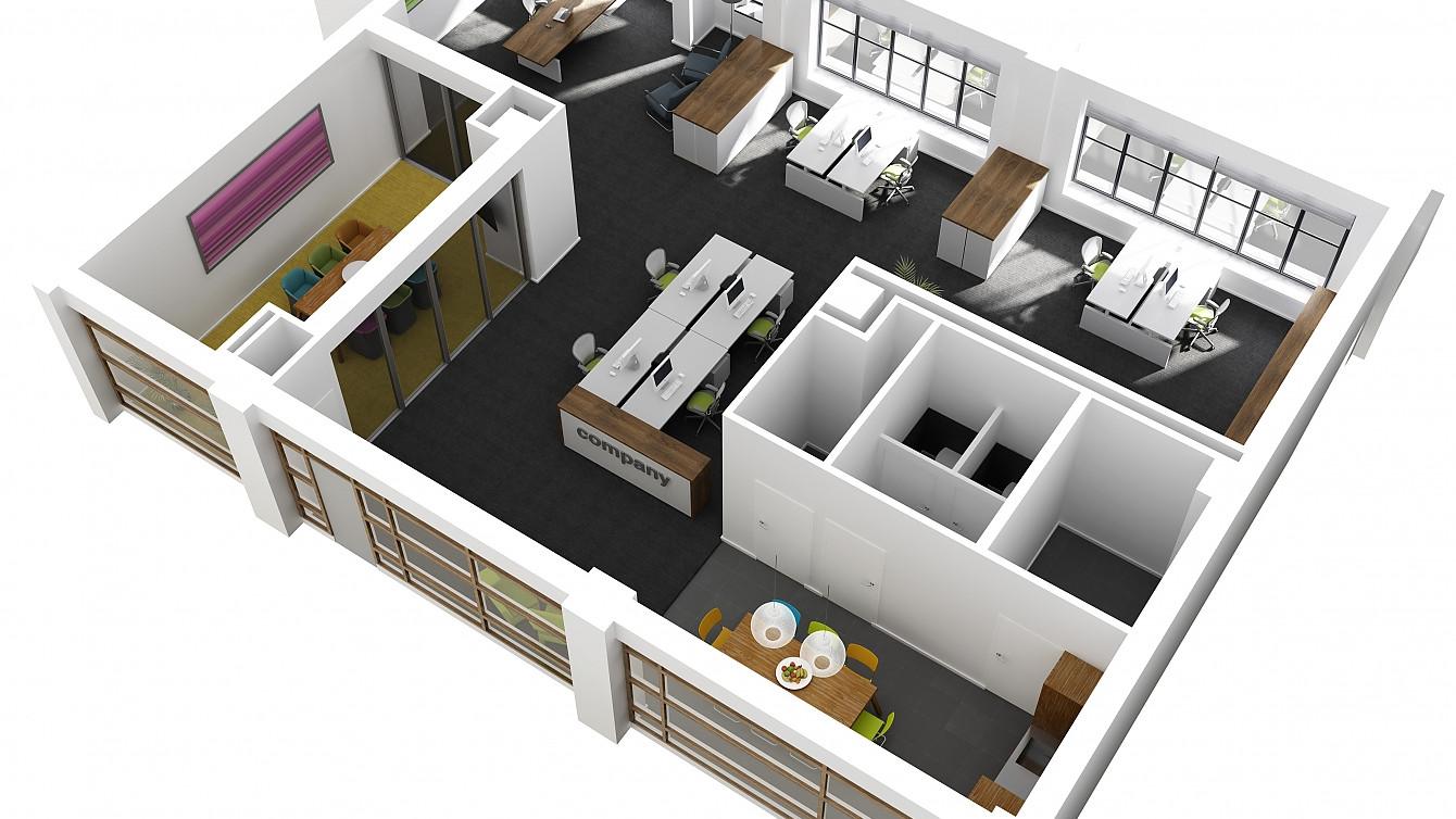 Beeldenfabriek - 3D plattegrond Kantoor